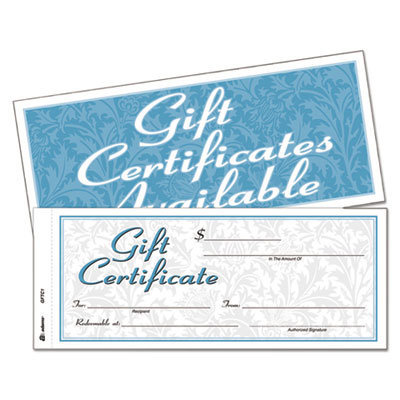 View larger image of Gift Certificates w/Envelopes, 8 x 3 2/5, White/Canary, 25/Book