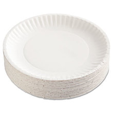 """Gold Label Coated Paper Plates, 9"""" dia, White, 100/Pack, 10 Packs/Carton"""