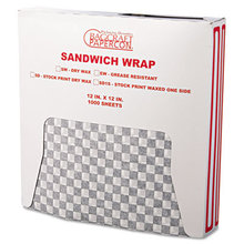Grease-Resistant Paper Wraps and Liners, 12 x 12, Black Check, 1000/Box, 5 Boxes/Carton