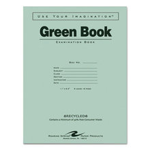 Green Books Exam Book, Wide/Legal Rule, 11 x 8.5, White, 8 Sheets