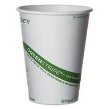 GreenStripe Renewable and Compostable Hot Cups - 12 oz,  50/Pack, 20 Packs/Carton