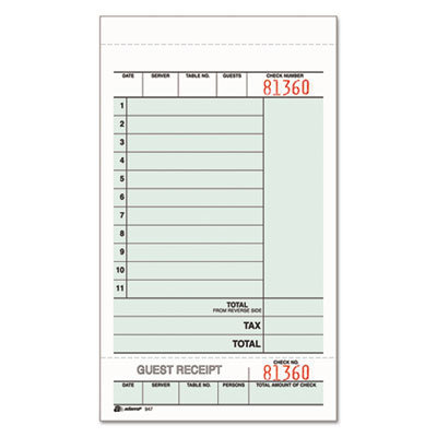 View larger image of Guest Check Unit Set, Two-Part Carbonless, 6.75 X 4.25, 1/page, 250/pack