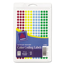 """Handwrite-Only Self-Adhesive """"See Through"""" Removable Round Color Dots, 0.25"""" dia., Assorted, 216/Sheet, 4 Sheets/Pack, (5796)"""
