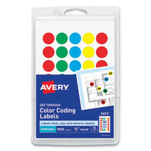 """Handwrite-Only Self-Adhesive """"See Through"""" Removable Round Color Dots, 0.75"""" dia., Assorted, 35/Sheet, 29 Sheets/Pack, (5473)"""