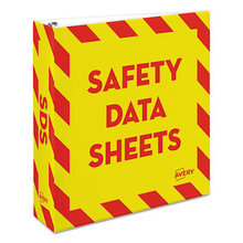 """Heavy-Duty Preprinted Safety Data Sheet Binder, 3 Rings, 2"""" Capacity, 11 x 8.5, Yellow/Red"""