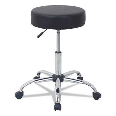 """View larger image of Height Adjustable Lab Stool, 24.38"""" Seat Height, Supports up to 275 lbs., Black Seat/Black Back, Chrome Base"""