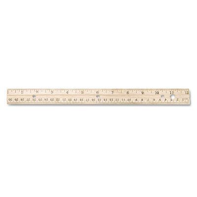 """View larger image of Hole Punched Wood Ruler English and Metric With Metal Edge, 12"""""""