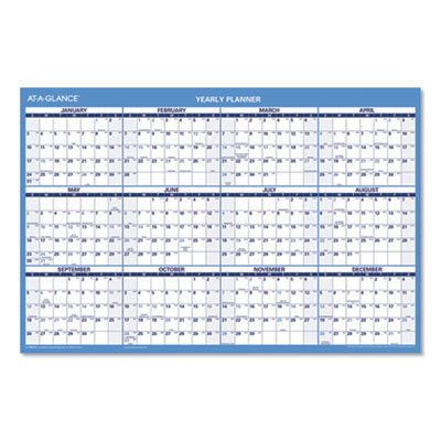 View larger image of Horizontal Erasable Wall Planner, 36 x 24, Blue/White RY, Red/White AY, 2020-2021