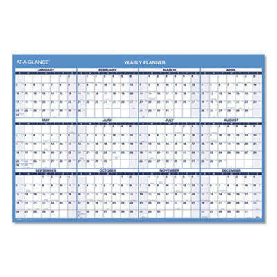 View larger image of Horizontal Erasable Wall Planner, 48 x 32, Blue/White, 2021