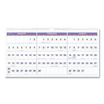 View larger image of Horizontal-Format Three-Month Reference Wall Calendar, 24 x 12, 2021