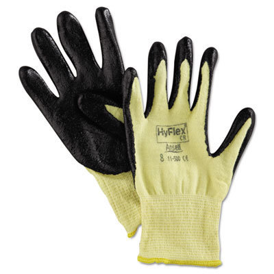 View larger image of HyFlex 500 Light-Dty Gloves, Size 8, Kevlar/Nitrile, Yellow/Black, 12 Pairs