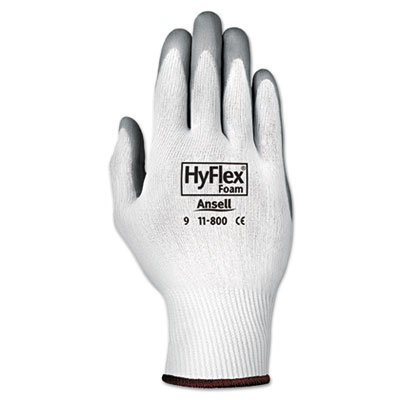 View larger image of HyFlex Foam Gloves, White/Gray, Size 8, 12 Pairs