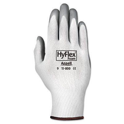 View larger image of HyFlex Foam Gloves, White/Gray, Size 9, 12 Pairs