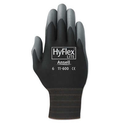 View larger image of HyFlex Lite Gloves, Black/Gray, Size 8, 12 Pairs