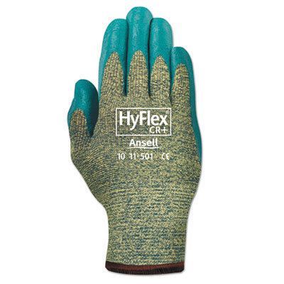 View larger image of HyFlex Medium-Duty Assembly Gloves, Blue/Green, Size 10, 12 Pairs