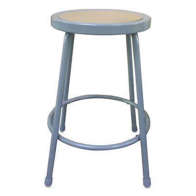 """View larger image of Industrial Metal Shop Stool, 24"""" Seat Height, Supports up to 300 lbs, Brown Seat/Gray Back, Gray Base"""