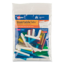 """Insertable Index Tabs with Printable Inserts, 1/5-Cut Tabs, Assorted Colors, 1.5"""" Wide, 25/Pack"""