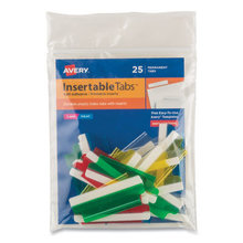 """Insertable Index Tabs with Printable Inserts, 1/5-Cut Tabs, Assorted Colors, 2"""" Wide, 25/Pack"""