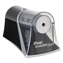 """iPoint Evolution Axis Pencil Sharpener, AC-Powered, 4.25"""" x 7"""" x 4.75"""", Black/Silver"""