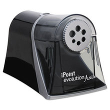 """iPoint Evolution Axis Pencil Sharpener, AC-Powered, 5"""" x 7.5"""" x 7.25"""", Black/Silver"""
