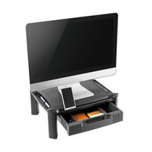 """Large Monitor Stand with Cable Management and Drawer, 18 3/8"""" x 13 5/8"""" x 5"""""""