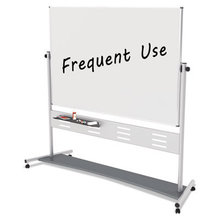"""Magnetic Reversible Mobile Easel, 70 4/5w x 47 1/5h, 80""""h, White/Silver"""