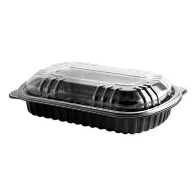View larger image of MicroRaves Rib Container w/Vented Anti-Fog Lids, Half Slab, Black/Clear, 150/CT