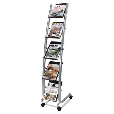 View larger image of Mobile Literature Display, 13.38w x 20.13d x 65.38h, Silver Gray/Black