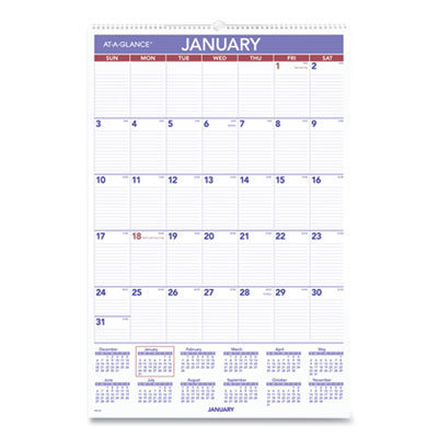 View larger image of Monthly Wall Calendar with Ruled Daily Blocks, 20 x 30, White, 2021