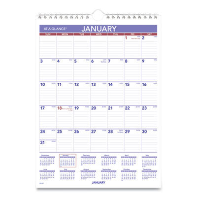 View larger image of Monthly Wall Calendar with Ruled Daily Blocks, 8 x 11, White, 2021