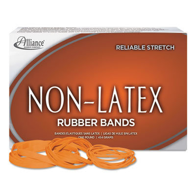 """View larger image of Non-Latex Rubber Bands, Size 54 (Assorted), 0.04"""" Gauge, Orange, 1 lb Box"""