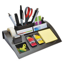 """Notes Dispenser with Weighted Base, Plastic, 10 1/4"""" x 6 3/4"""" x 2 3/4"""", Black"""