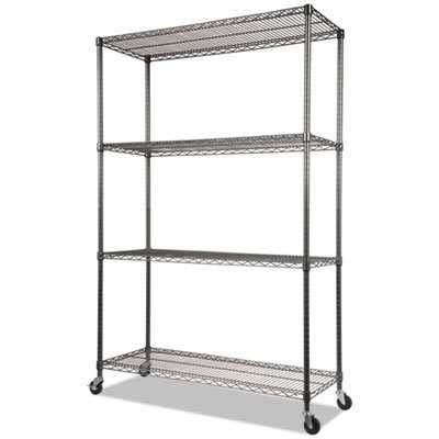 View larger image of NSF Certified 4-Shelf Wire Shelving Kit with Casters, 48w x 18d x 72h, Black Anthracite