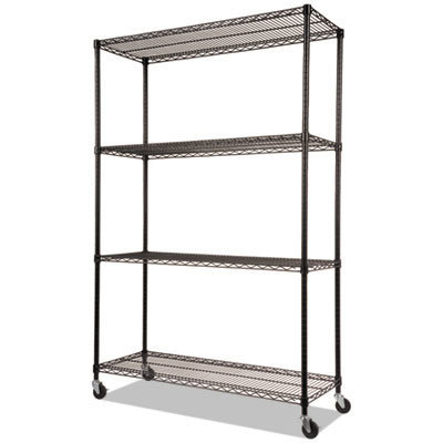 View larger image of NSF Certified 4-Shelf Wire Shelving Kit with Casters, 48w x 18d x 72h, Black