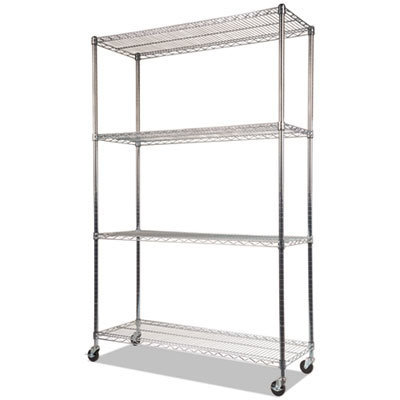 View larger image of NSF Certified 4-Shelf Wire Shelving Kit with Casters, 48w x 18d x 72h, Silver
