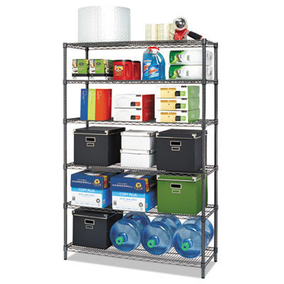 View larger image of NSF Certified 6-Shelf Wire Shelving Kit, 48w x 18d x 72h, Black Anthracite