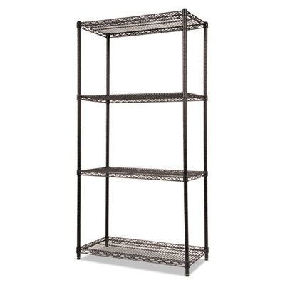 View larger image of NSF Certified Industrial 4-Shelf Wire Shelving Kit, 36w x 18d x 72h, Black