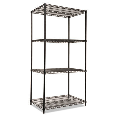 View larger image of NSF Certified Industrial 4-Shelf Wire Shelving Kit, 36w x 24d x 72h, Black