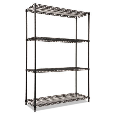 View larger image of NSF Certified Industrial 4-Shelf Wire Shelving Kit, 48w x 18d x 72h, Black