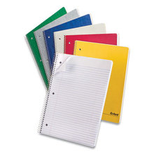 One-Subject Notebook, Medium/College Rule, Assorted Colors, 9 x 11, 100 Sheets, 6/Pack