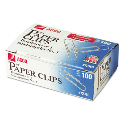 View larger image of Paper Clips, Medium (No. 1), Silver, 100/Box, 10 Boxes/Pack