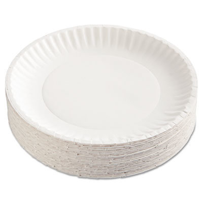 """View larger image of Paper Plates, 9"""" Diameter, White, 100/Pack"""