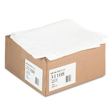 """Paper Table Cover, Embossed, w/Plastic Liner, 54"""" x 108"""", White, 20/Carton"""