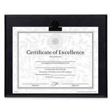 Plaque With Metal Clip, Wood, 8 1/2 x 11 Insert, Black