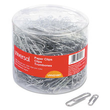Plastic-Coated Paper Clips, Assorted Sizes, Silver, 1,000/Pack