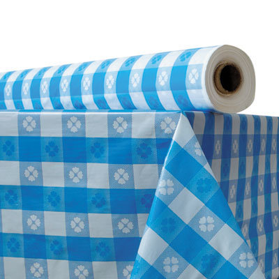 """View larger image of Plastic Table Cover, 40"""" x 300 ft Roll, Blue Gingham"""
