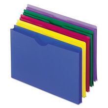 Poly File Jackets, Straight Tab, Legal Size, Assorted Colors, 5/Pack