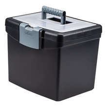 """Portable File Box with Large Organizer Lid, Letter Files, 13.25"""" x 10.88"""" x 11"""", Black"""