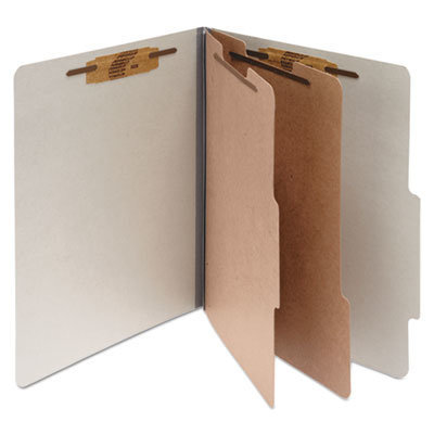 View larger image of Pressboard Classification Folders, 2 Dividers, Letter Size, Mist Gray, 10/Box
