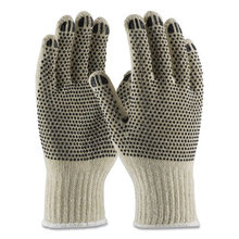 PVC-Dotted Cotton/Polyester Work Gloves, Large, Gray/Black, 12 Pairs